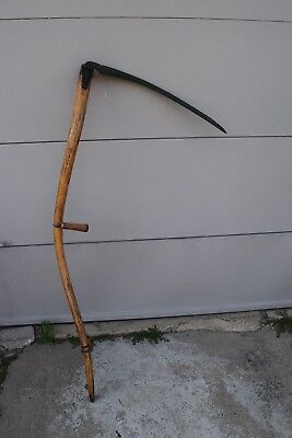 Vintage Antique Scythe Mowing Grain Farm Tool Grim Reaper made by True Temper