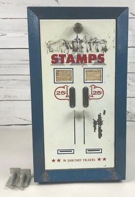 Postage Stamps In Sanitary Holders 25 Cent Vending Machine Vintage With Key RARE
