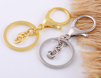 Metal Round Keychain Lobster Trigger Swivel Clasps Hook Clips Key Ring Chain