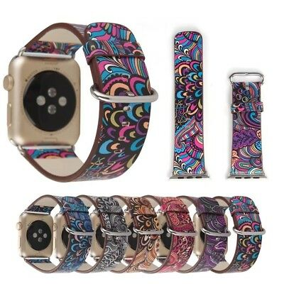 National style Floral Leather Strap Watch Band for Apple Watch series 5 4 3 2 1
