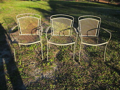 Russell Woodard Sculpture Wire Vintage Patio Chairs Set Of Three From 1950 Circa