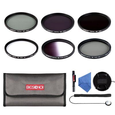 Beschoi 77mm UV CPL ND2 ND4 ND8 Graduated Grey Color Lens Filter Kit Accessories