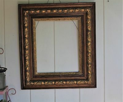 Antique Oak Wooden Gold Gilt Carved Picture Frame Spanish Colonial
