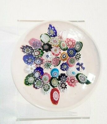 Antique French Clichy Paperweight 1860s 38 Canes 3 Different Roses