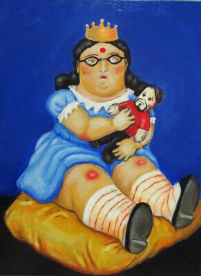 "Fernando Botero ""Little Hindu and her toy""HD Print On Art Fabric Wall Decor#M376"