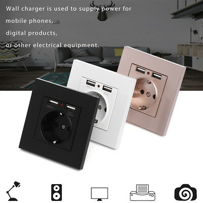 Dual USB Port Wall Charger Adapter 16A EU Plug Socket Power Outlet Panel 5V 2.1A