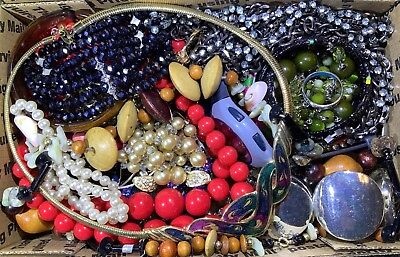 Huge Vintage - Now Jewelry Lot Estate Find Junk Drawer UNSEARCHED UNTESTED #105
