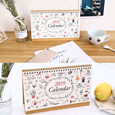 2018-2019 Month To View Stand Desk Calendar table calendar list daily #E9C