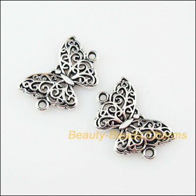 18Pcs Tibetan Silver Tone Animal Butterfly Charms Pendants Connectors 14x20mm