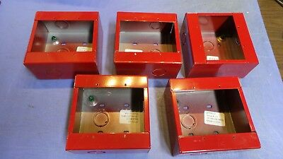 5 – Lee MFG # 27193-21 Surface Mount Fire Alarm Device Back Box, Two Gang Red.