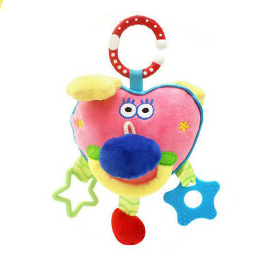 Cartoon Baby Rattles Heart-shaped Stroller Music Hanging Bell Soft Toys BS