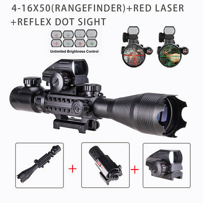 Combo 4-16x50 Rangefinder Rifle Scope 4 Reticle Green/Red Dot sight & Red laser