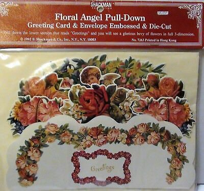 VICTORIAN 3-DIMENSIONAL FLORAL ANGEL PULL-DOWN GREETING CARD With Envelope