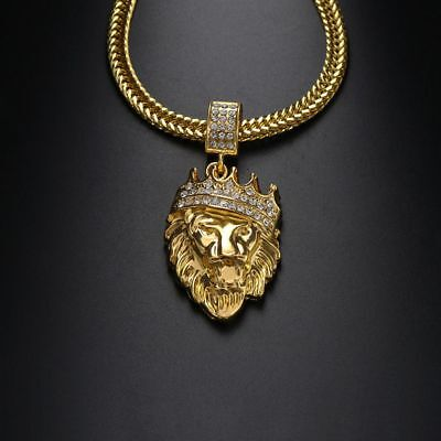 Jewelry Men Gold Filled Women Bling Lion Head Crystal Necklace Pendant