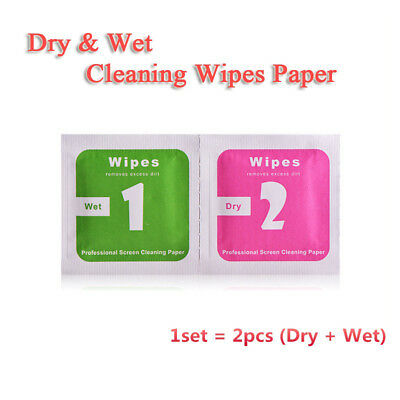 50 Set Lens Phone LCD Screen Dust Removal Tool Dry Wet Cleaning Wipes Paper #c
