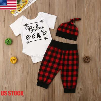 USA Baby Boy Girl Summer Outfits Clothes BABY BEAR and Arrows Print Romper Suit