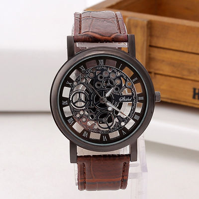 Men's Skeleton Stainless Steel Hollow Leather Analog Quartz Wrist Watch Fashion