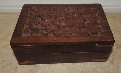 """Wooden Storage Box 6"""" x 4"""" - Hand-carved flower Inlaid with Solid Brass"""