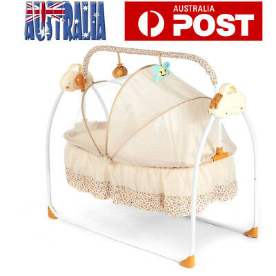 Electric Baby Crib Cradle Infant Rocker Auto-Swing Sleep Bed Portable Baby Bed