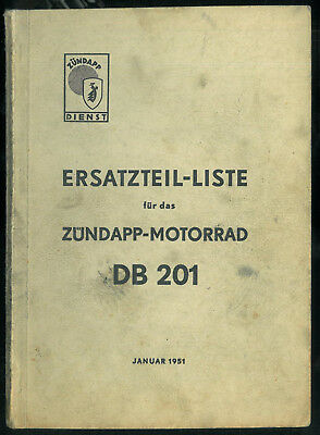 ORIGINAL Ersatzteilliste ZUNDAPP DB 201 Parts List Catalogue Pièces en Allemand