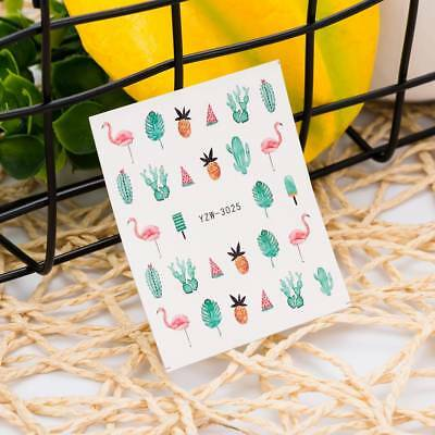 Girls Lovely Flamingos Nail Art Sticker Water Transfer Cactus Manicure Decals