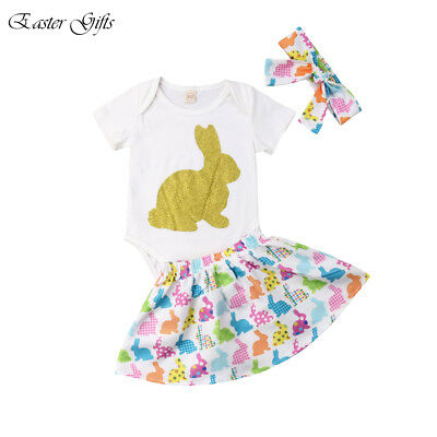 Gifts Baby Girls My 1st Easter Outfit 3pcs Tops Romper+Short Skirts Headband Set