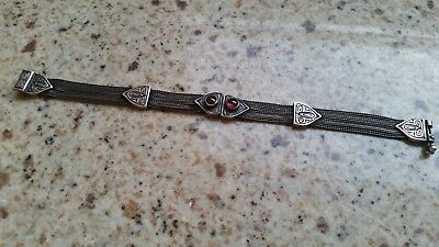 ANTIQUE 19th CENTURY OTTOMAN EMPIRE /TURKEY  SILVER BRACELET RED STONES