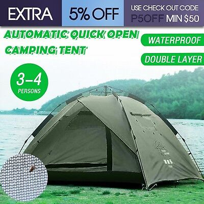 Waterproof Automatic Quick Open Double Layer Camping Tent Shelter 3-4 Persons AU