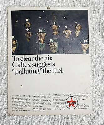 1950's VINTAGE SCARCE CALTEX-TO CLEAR THE AIR PAPER ADV. SIGN BOARD, U.S.A