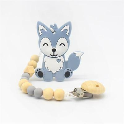 Baby Silicone Wood Bead Cute Fox Teething Dummy Soother Clip Chain Pacifier JJ