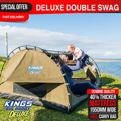 Double Swag Camping Swags 70mm Mattress Canvas Tent Deluxe Kings Big Daddy Bag