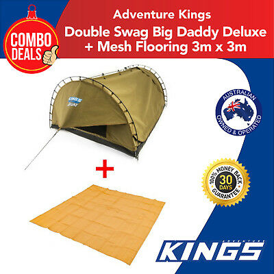 Double Swag Deluxe Adventure Kings with 3m x 3m Mesh Floor Camping Kings