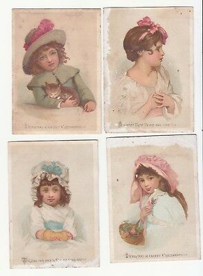 4 Christmas & New Years Little Girls Hand to Heart Bows Cat Poems Card c1880s