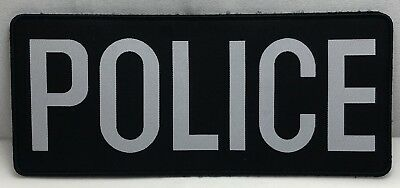 Police Woven Bag Patch, White Text on Black, Hook Rear, About 10.5cm x 4cm