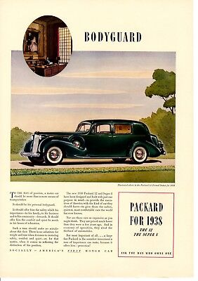 Vintage Print ad 1937 car automobile Packard for 1938 Bodyguard White Rock Water