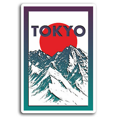 2 x Tokyo Japan Vinyl Sticker Decal Luggage Travel Tag Label Gift Map Flag #5776