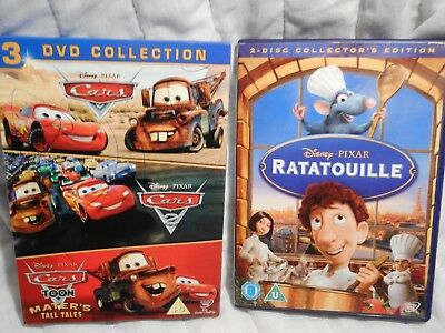 Disney Pixar Ratatouille, Cars, 3 DVD Collection, Family Entertainment