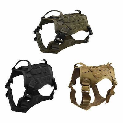 K9 Tactical Molle Chest Plate Dog Harness Adjustable Puppy Vest w/Handle 3 Color