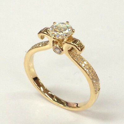 2Ct Round-Cut Diamond Solitaire Engagement Ring Real 14k Yellow Gold