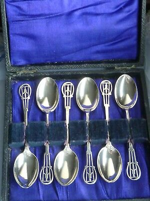 Boxed set of George V1 (1944)  SOLID SILVER spoons lovely fuchsia decoration.