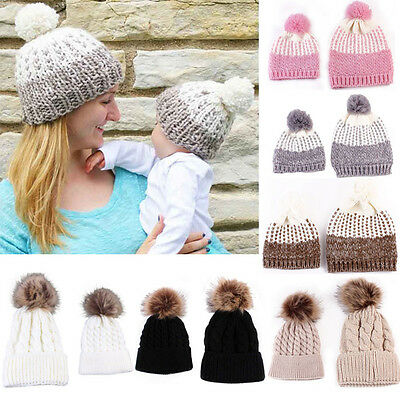 Warm Winter Mom&Newborn Baby Boy Girl Hat Knit Fur Pom Bobble Beanie Cap 2PCS CC