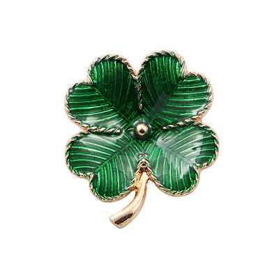 Green Shamrock St Patricks Day Celtic Irish Ireland Lucky Poppy Brooch Pin Badge