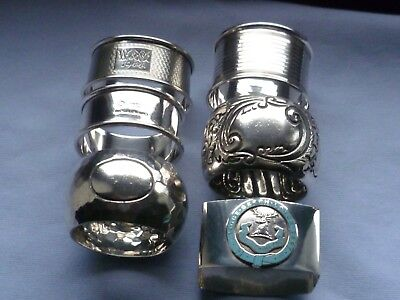 6 Various SOLID SILVER napkin rings dating between 1905 - 1947. Weight 135g