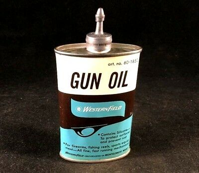 Vintage WESTERN FIELD GUN OIL HANDY OILER LEAD TOP Rare Old Advertising Tin Can