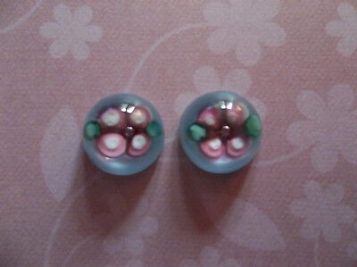 Glass Cameos - 10mm Round Cabochons - Pink Flower on Blue - Handmade Lampwork