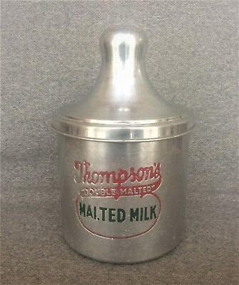 VINTAGE 1940's THOMPSON'S DOUBLE MALTED SODA FOUNTAIN MALTED MILK FREE SHIPPING