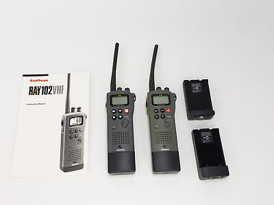 Raytheon Marine Submersible VHF Handheld Ray 102 With Battery Lot of 2