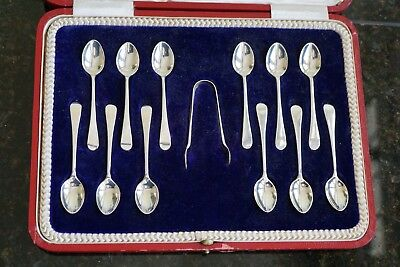 Cased Set of 12 Solid Silver ART DECO Coffee Spoons Tea Teaspoons & Nips