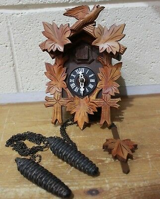Vtg German Black Forest Handcrafted CUCKCOO CLOCK w/ Weights - Working - 250
