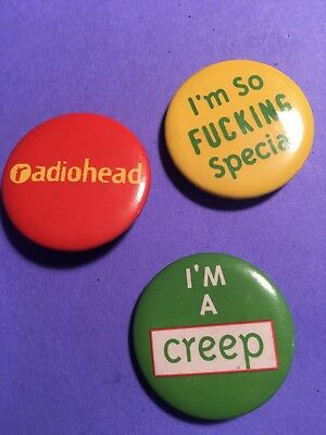 🗣 Radiohead Promotional 'I'm A Creep' Button Set 👥 1993 Collectors Item....